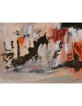 La fonte des glaces - tableau abstrait marron et noir