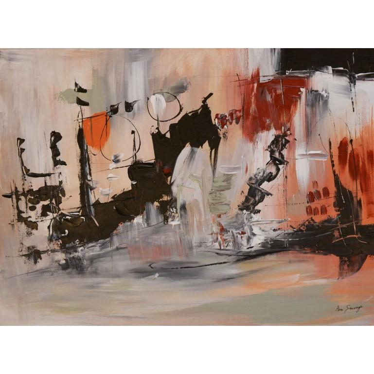 tableau abstrait noir et marron
