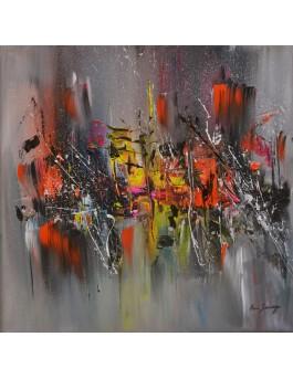 tableau abstrait gris moderne