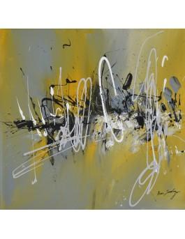 Signé Âme Sauvage - tableau abstrait gris et jaune