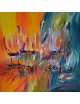 Au coeur de l'arc en ciel -  grand tableau coloré orange bleu