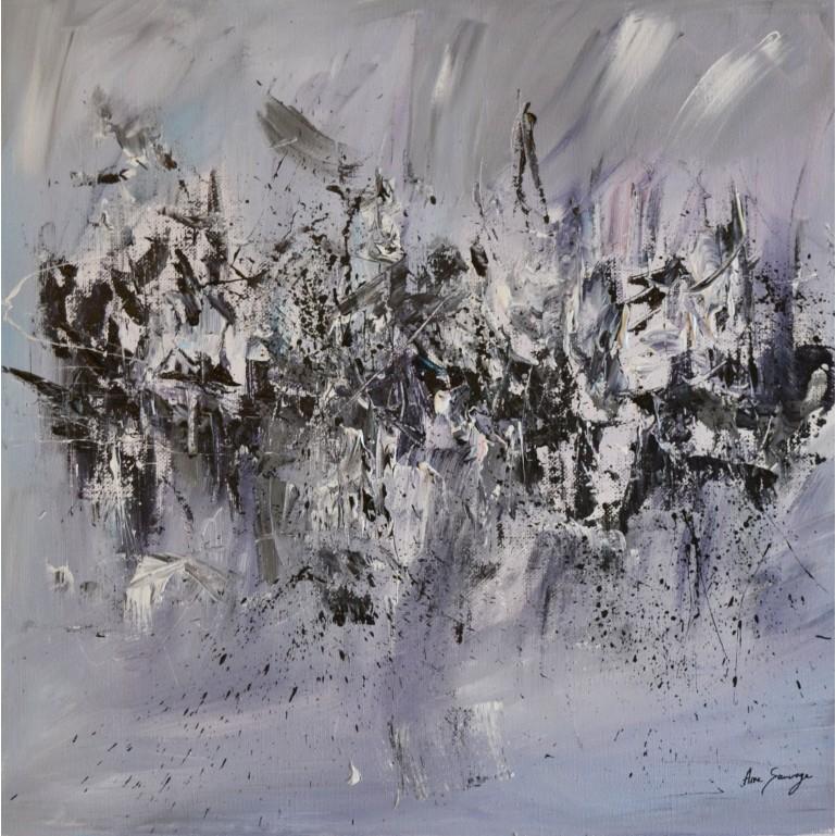 tableau abstrait contemporain gris violet