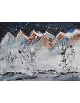 Les chaînes montagneuses - peinture abstraite montagnes