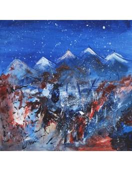 Agitation en altitude - tableau abstrait montagnes