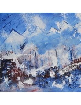 Bleu et blanc - tableau abstrait montagnes
