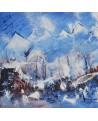 tableau abstrait montagnes bleu et blanc