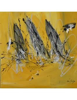 Voiliers solaires - tableau abstrait jaune moutarde et gris