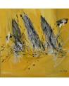 tableau abstrait jaune moutarde et gris voiliers