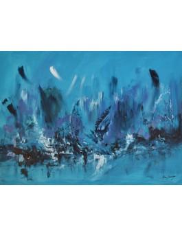 Envolée sur les vagues - peinture abstraite moderne bleue