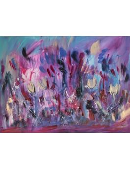 Danse au milieu des fleurs - peinture abstraite moderne de fleurs sur plaque de bois