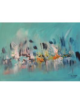 peinture abstraite moderne bleu turquoise