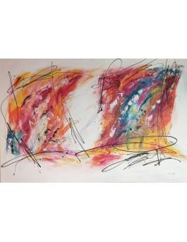Beauté enflammée - Grand tableau abstrait coloré