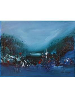 tableau abstrait bleu vert moderne
