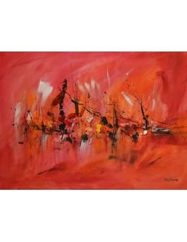 peinture abstraite rouge orange