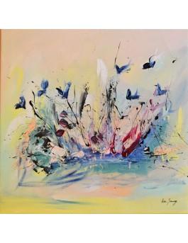 Petits papillons bleus - tableau abstrait pastel