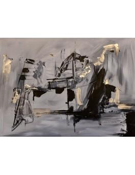 Le musicien - tableau abstrait moderne gris noir argent