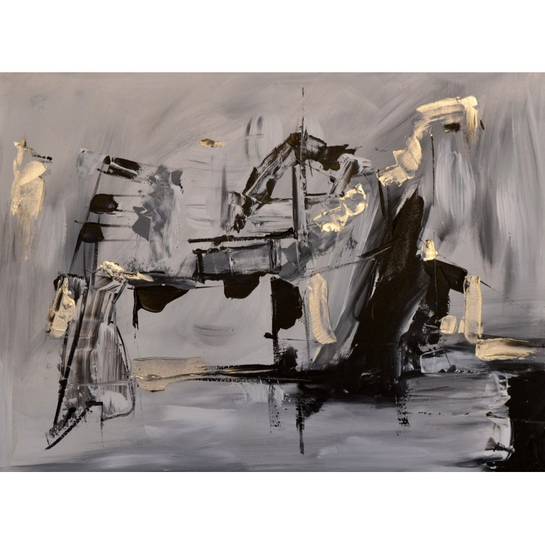 tableau abstrait moderne gris noir argent