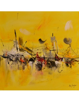 Le grand retour - tableau abstrait jaune sur plaque de bois