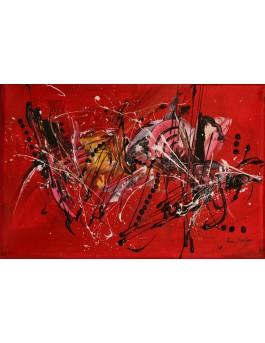 Le plaisir du vol - tableau abstrait rouge et noir