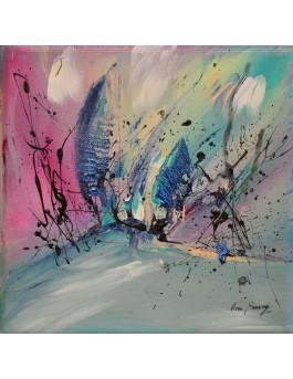 tableau abstrait contemporain pastel
