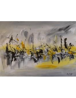 La vie dans le désert - tableau abstrait moderne gris et jaune