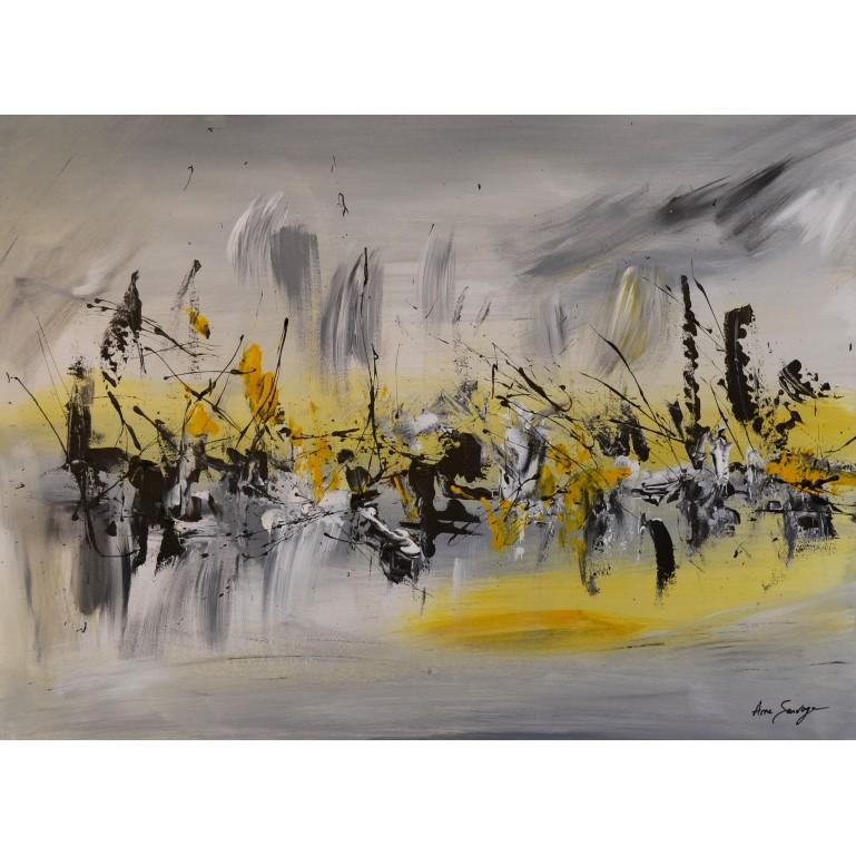 tableau abstrait moderne gris et jaune