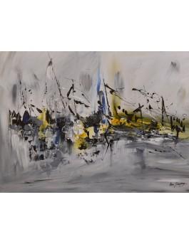 Déplacement royal - tableau moderne abstrait gris et jaune