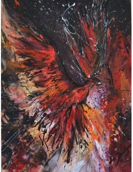 L'éveil du phénix - Tableau abstrait phoenix