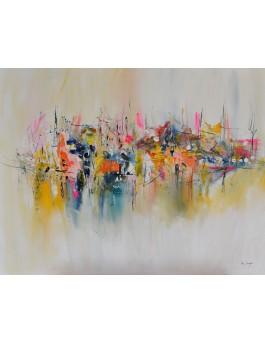 La ville en suspension - tableau abstrait coloré