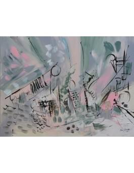tableau abstrait rose poudré et vert de gris pastel