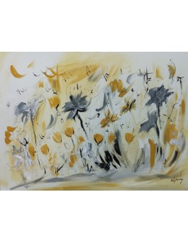 Fleurs volantes - tableau abstrait jaune moutarde et gris
