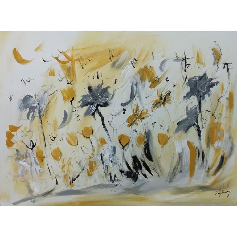 tableau abstrait jaune moutarde et gris de fleurs