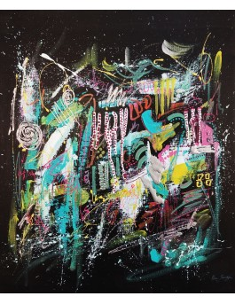 Festive paradise - Peinture abstraite sur fond noir