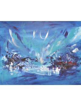 Froid sur le village - peinture abstraite moderne bleu sur plaque de bois