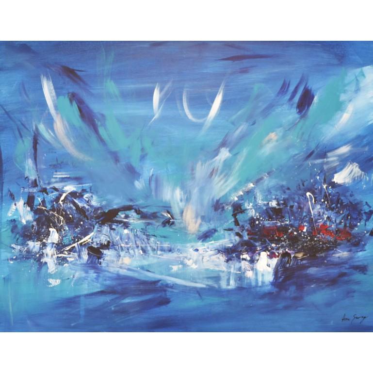 peinture abstraite moderne bleu