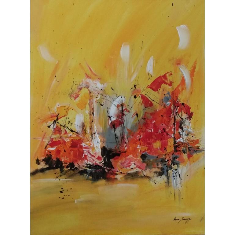 tableau abstrait jaune et rouge