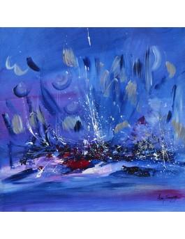 Cuisine cosmique - tableau bleu abstrait