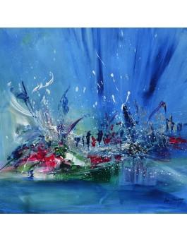 tableau abstrait bleu vert