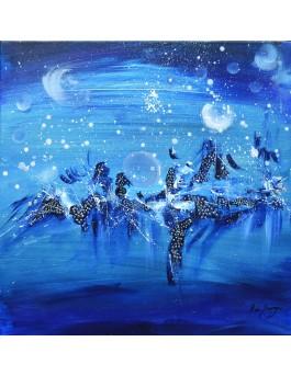 Hiver bonheur - peinture abstraite moderne bleue sur toile