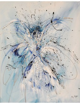 Explosion de matière - tableau abstrait bleu et blanc