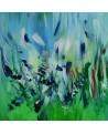 Peinture abstraite bleu vert