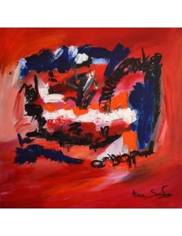 tableau abstrait rouge noir bleu blanc