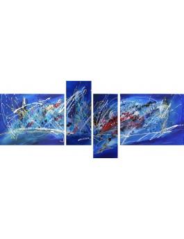 Galactique - tableau abstrait en plusieurs parties bleu