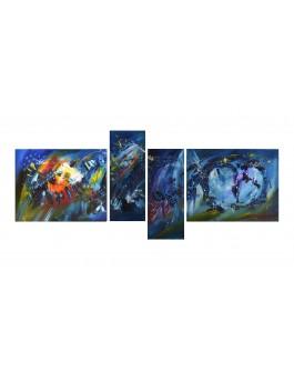 Le mouvement de l'univers - tableau abstrait en 4 parties