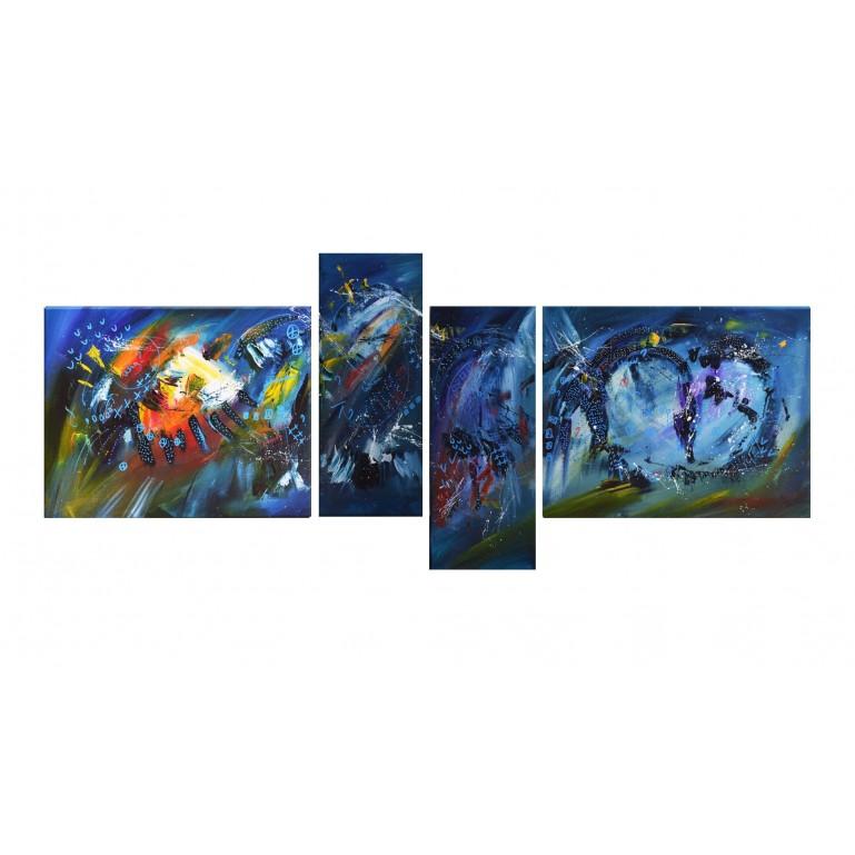 tableau abstrait en 4 parties