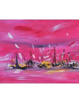 tableau contemporain rose or bleu