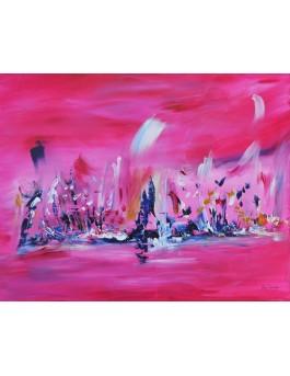 Les êtres volants - tableau contemporain rose et bleu
