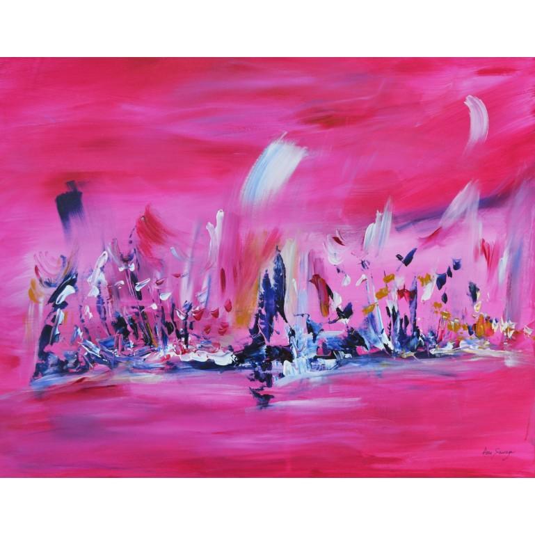 tableau contemporain rose et bleu