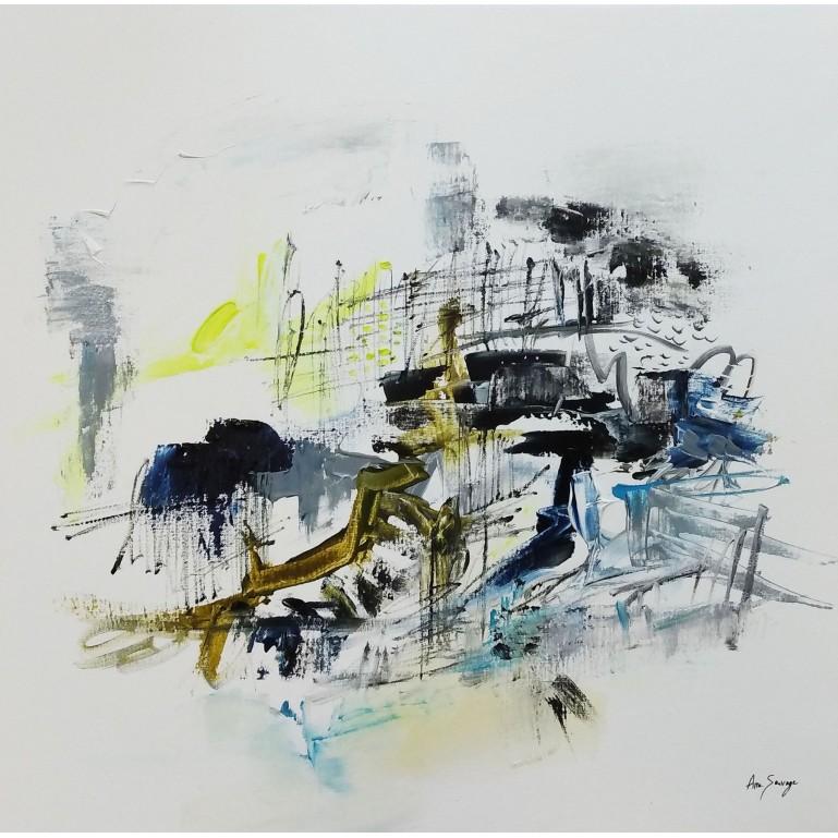 tableau abstrait minimaliste blanc
