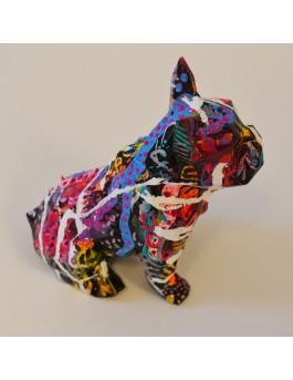 Mini bulldog coloré - statue bouledogue français